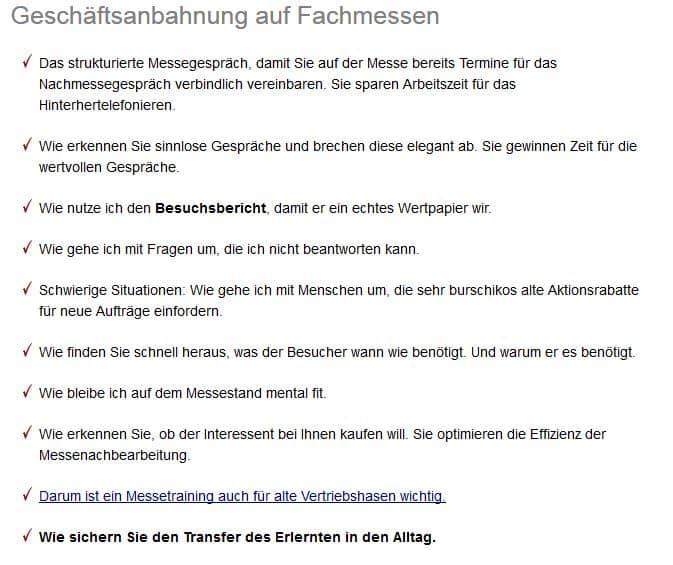 Messetraining Stuttgart für Profis.